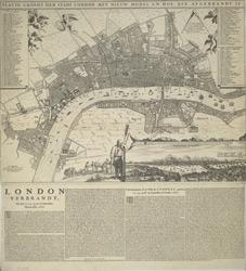 Platte Grondt der Stadt London met Nieuw Model en hoe die Afgebrandt is